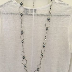 Lia Sophia silver long necklace w/ blue gray beads